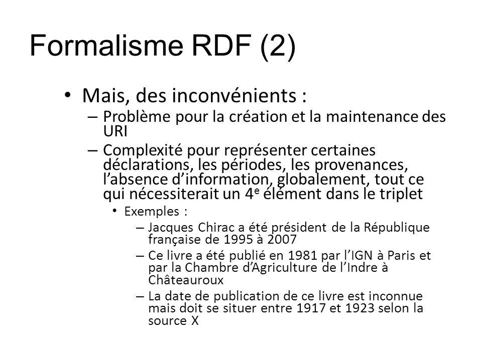 Formalisme RDF (2) Mais, des inconvénients : – Problème pour la création et la maintenance des URI – Complexité pour représenter certaines déclaration