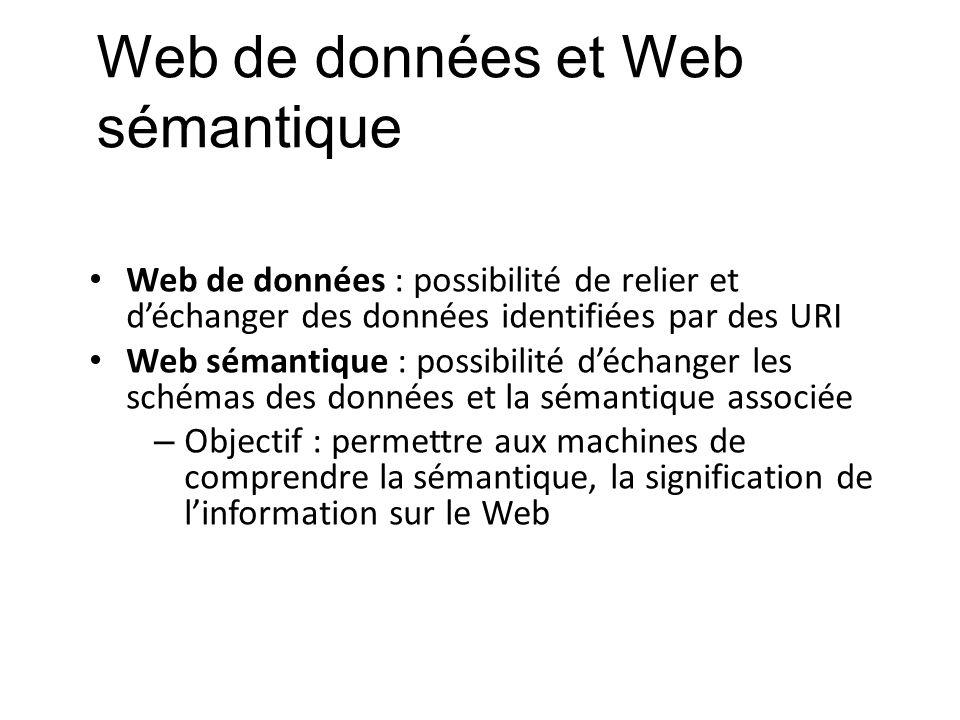 Web de données et Web sémantique Web de données : possibilité de relier et déchanger des données identifiées par des URI Web sémantique : possibilité
