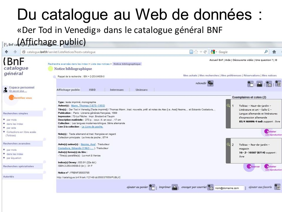 Du catalogue au Web de données : «Der Tod in Venedig» dans le catalogue général BNF (Affichage public)