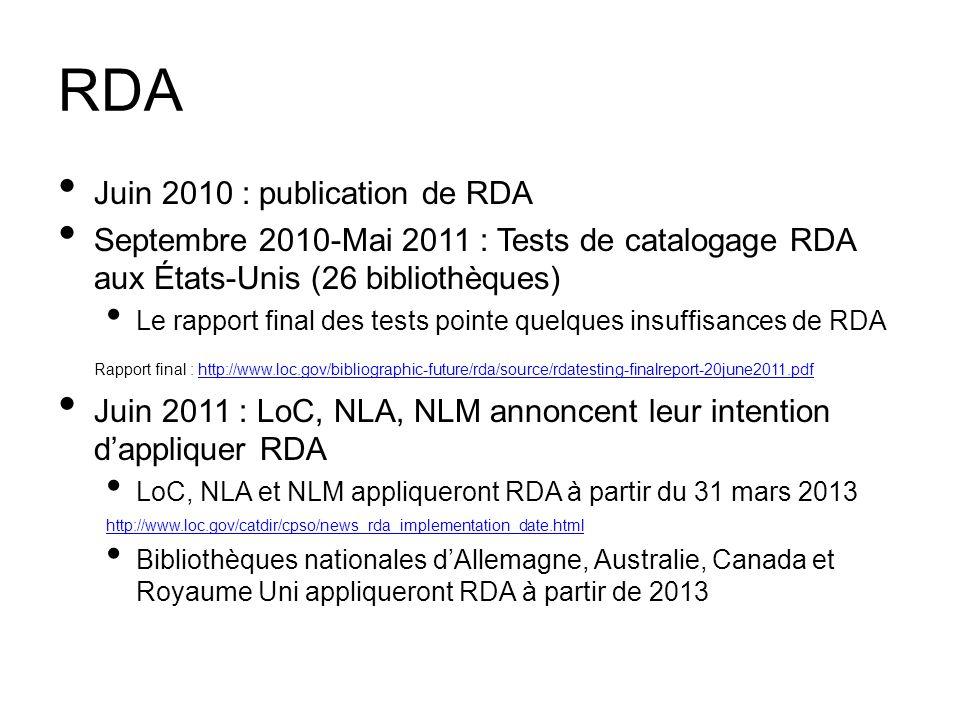 RDA Juin 2010 : publication de RDA Septembre 2010-Mai 2011 : Tests de catalogage RDA aux États-Unis (26 bibliothèques) Le rapport final des tests poin