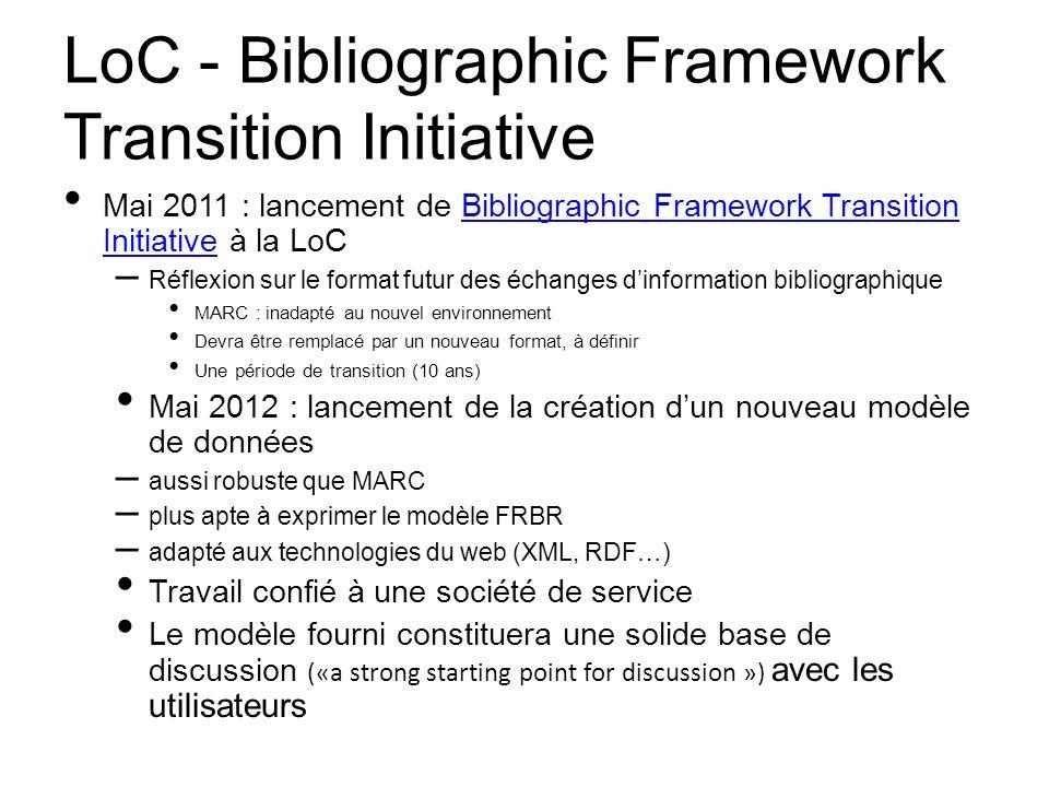 LoC - Bibliographic Framework Transition Initiative Mai 2011 : lancement de Bibliographic Framework Transition Initiative à la LoCBibliographic Framew