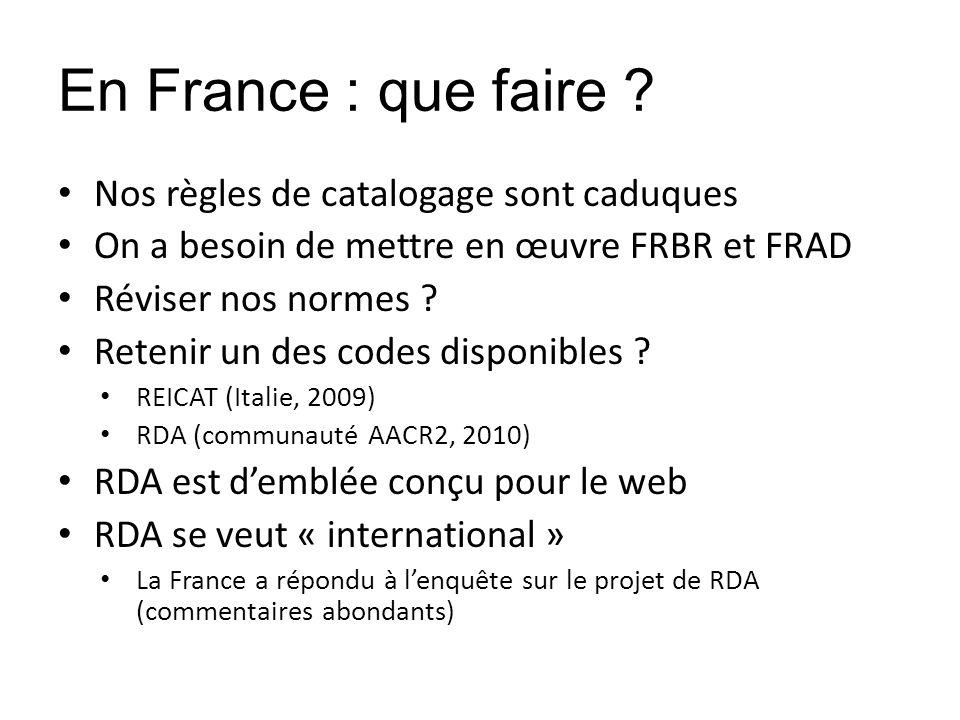 En France : que faire ? Nos règles de catalogage sont caduques On a besoin de mettre en œuvre FRBR et FRAD Réviser nos normes ? Retenir un des codes d