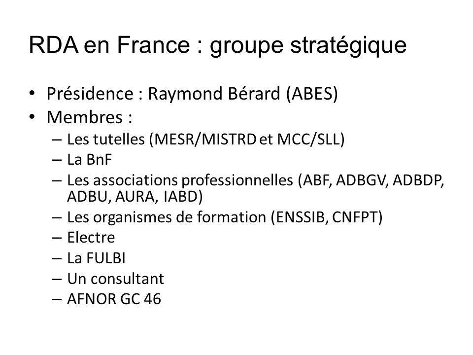 RDA en France : groupe stratégique Présidence : Raymond Bérard (ABES) Membres : – Les tutelles (MESR/MISTRD et MCC/SLL) – La BnF – Les associations pr
