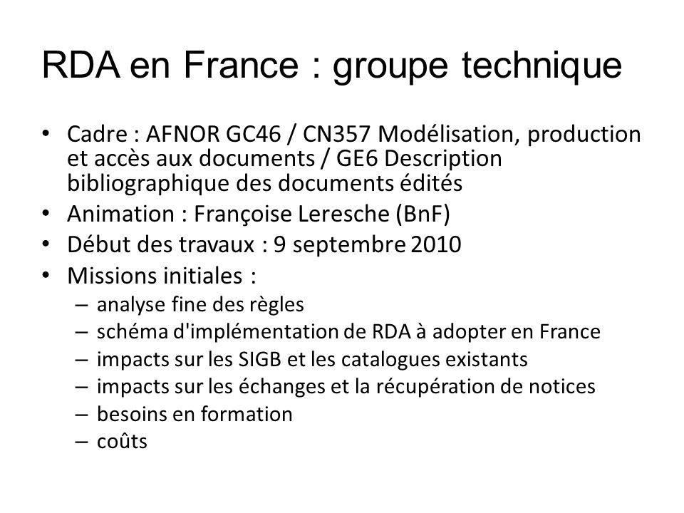 RDA en France : groupe technique Cadre : AFNOR GC46 / CN357 Modélisation, production et accès aux documents / GE6 Description bibliographique des docu