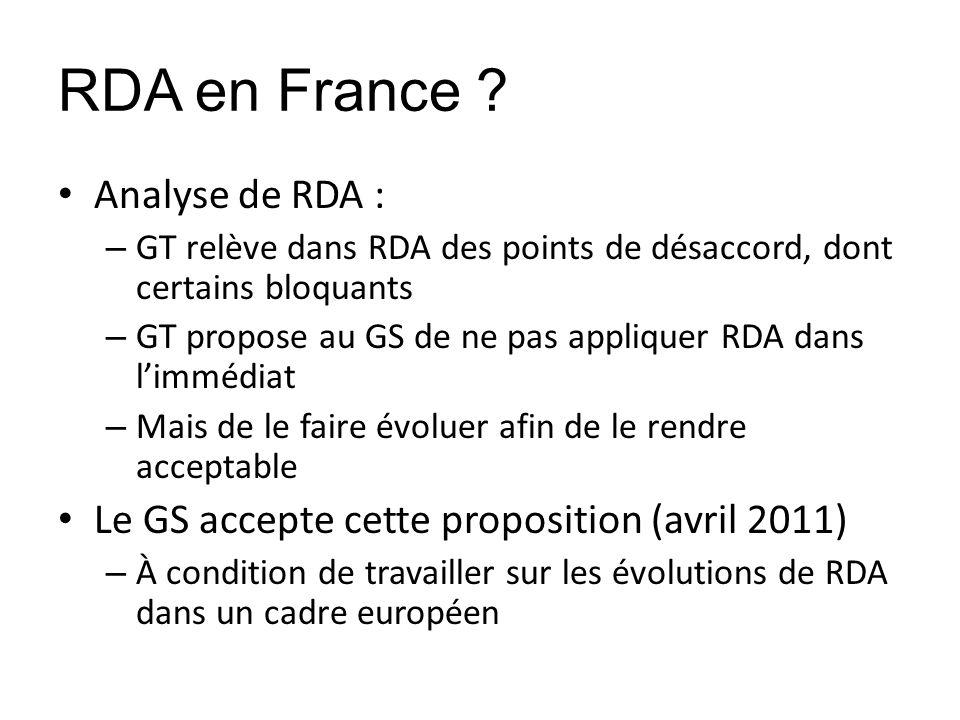 RDA en France ? Analyse de RDA : – GT relève dans RDA des points de désaccord, dont certains bloquants – GT propose au GS de ne pas appliquer RDA dans