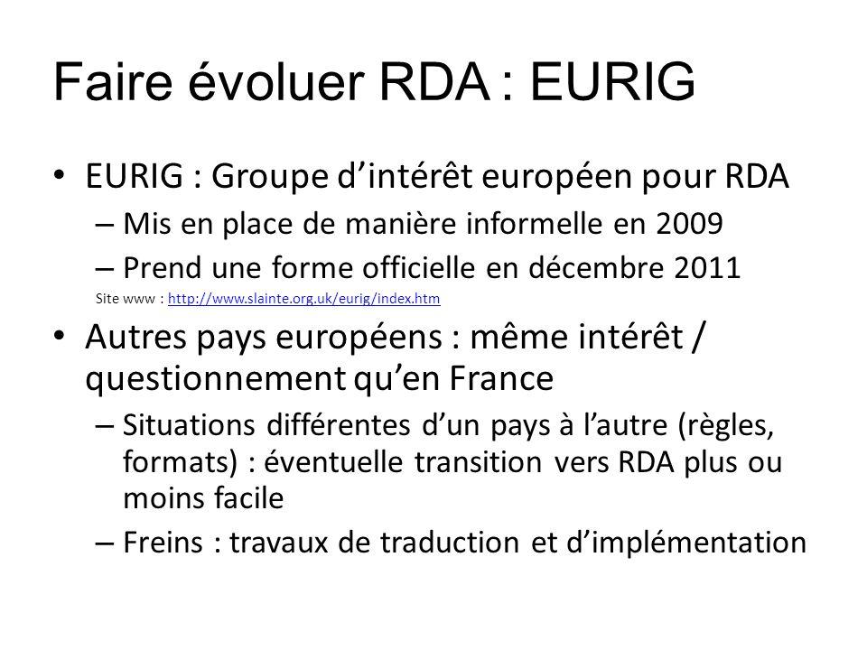 Faire évoluer RDA : EURIG EURIG : Groupe dintérêt européen pour RDA – Mis en place de manière informelle en 2009 – Prend une forme officielle en décem