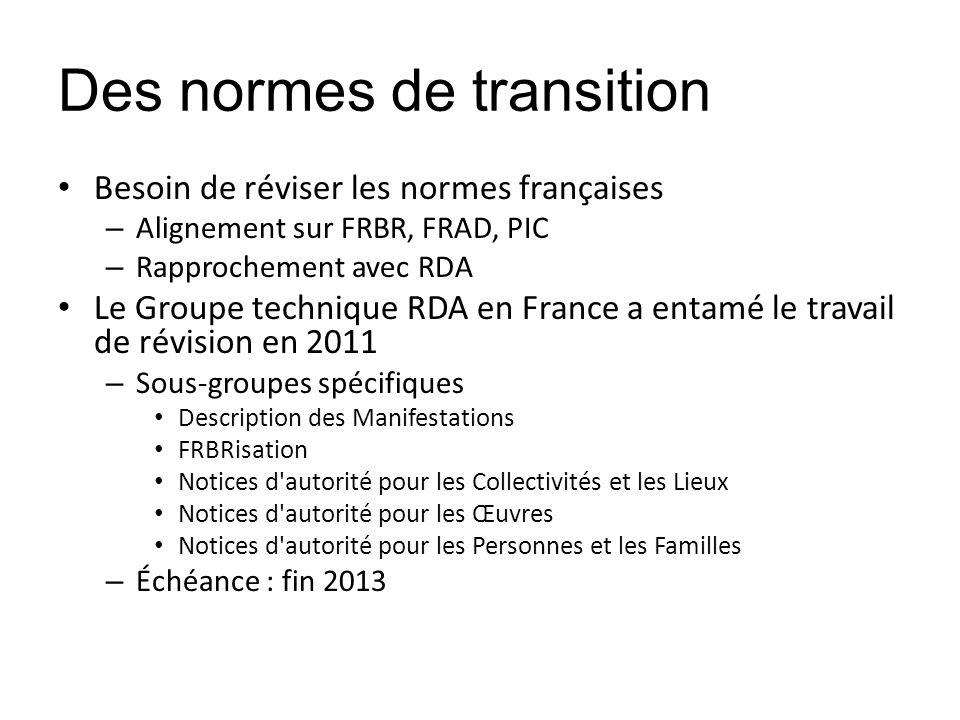 Des normes de transition Besoin de réviser les normes françaises – Alignement sur FRBR, FRAD, PIC – Rapprochement avec RDA Le Groupe technique RDA en