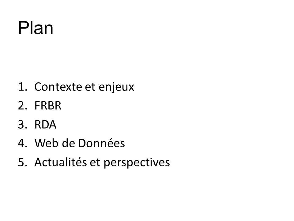 Plan 1.Contexte et enjeux 2.FRBR 3.RDA 4.Web de Données 5.Actualités et perspectives