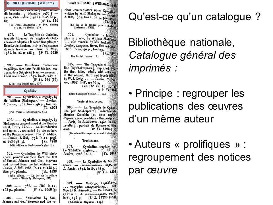 Quest-ce quun catalogue ? Bibliothèque nationale, Catalogue général des imprimés : Principe : regrouper les publications des œuvres dun même auteur Au