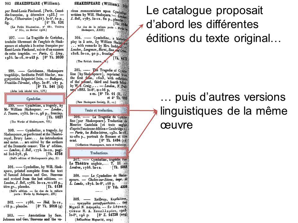 Le catalogue proposait dabord les différentes éditions du texte original… … puis dautres versions linguistiques de la même œuvre