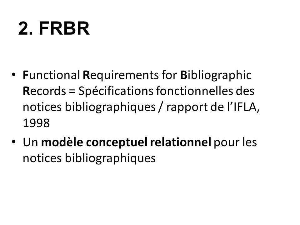 2. FRBR Functional Requirements for Bibliographic Records = Spécifications fonctionnelles des notices bibliographiques / rapport de lIFLA, 1998 Un mod