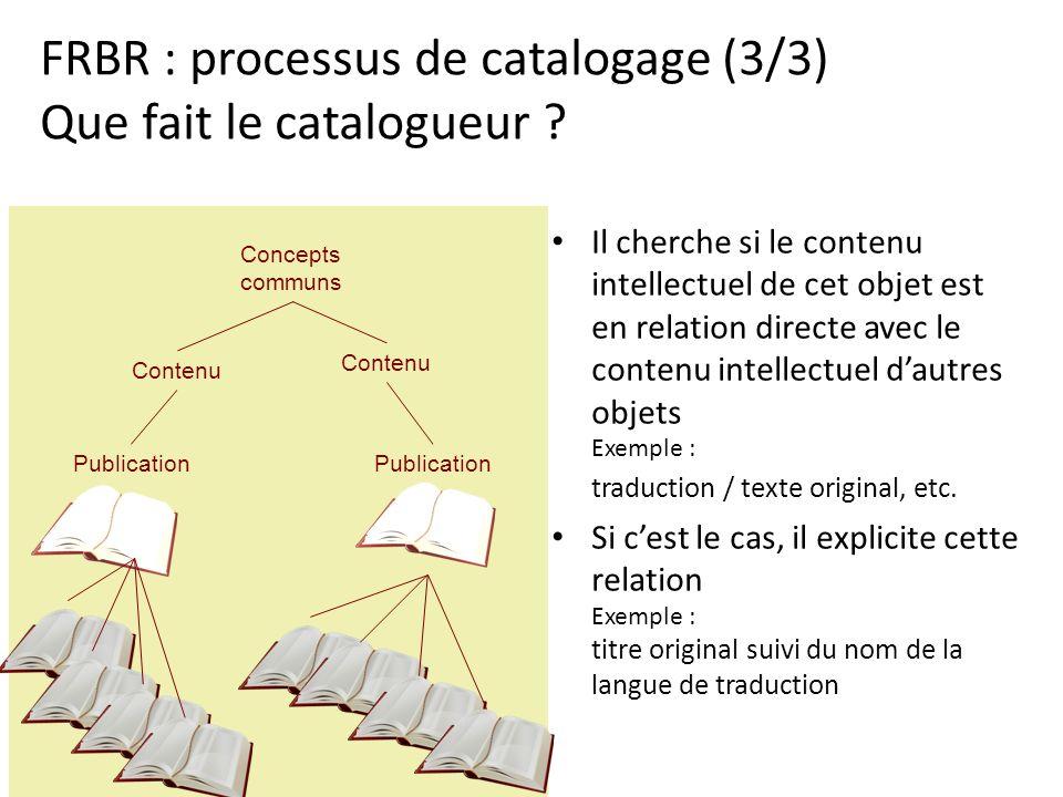 FRBR : processus de catalogage (3/3) Que fait le catalogueur ? Il cherche si le contenu intellectuel de cet objet est en relation directe avec le cont