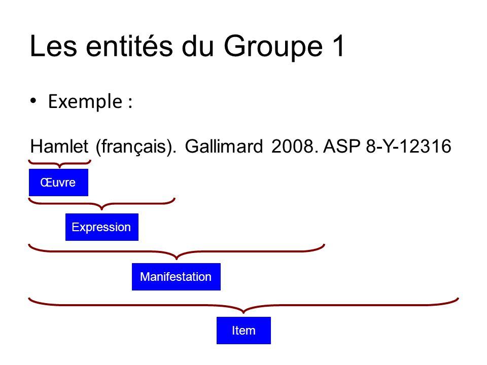 Les entités du Groupe 1 Exemple : Hamlet (français). Gallimard 2008. ASP 8-Y-12316 Item Manifestation Expression Œuvre