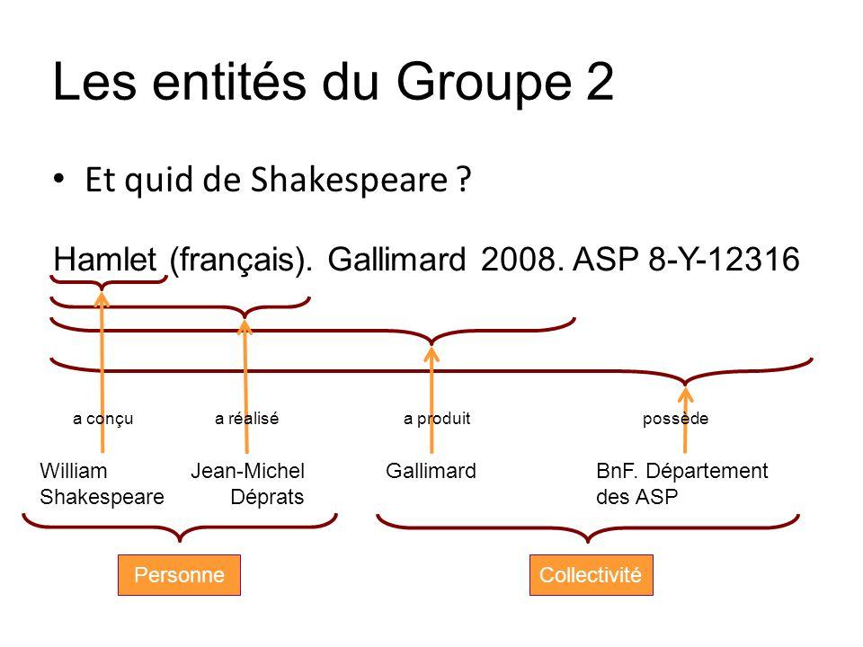 Les entités du Groupe 2 Et quid de Shakespeare ? William Shakespeare Jean-Michel Déprats GallimardBnF. Département des ASP a conçua réaliséa produitpo