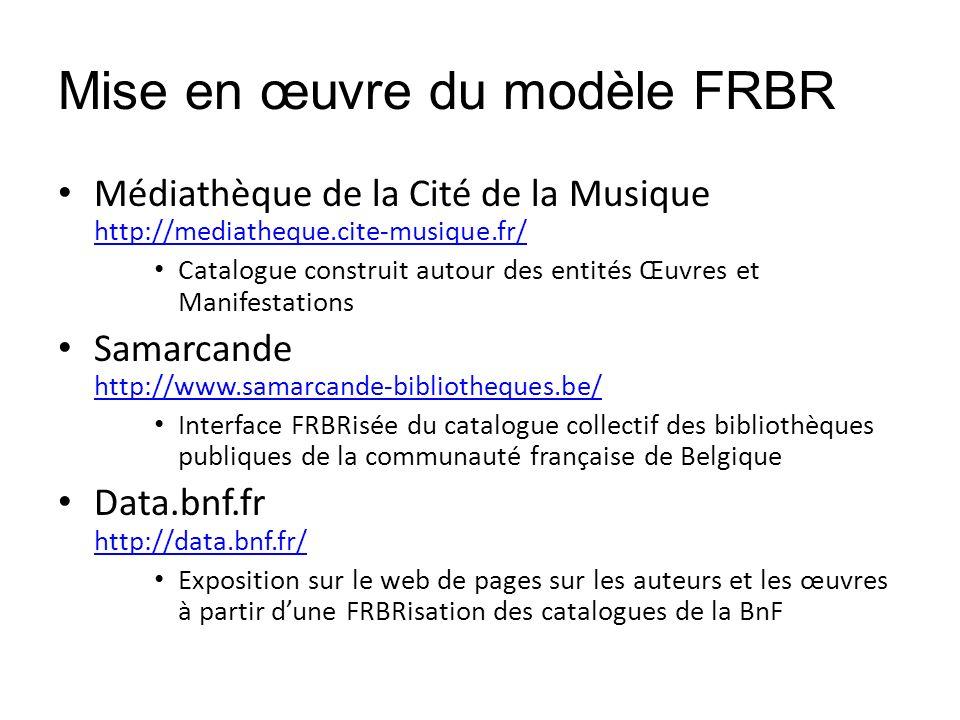 Mise en œuvre du modèle FRBR Médiathèque de la Cité de la Musique http://mediatheque.cite-musique.fr/ http://mediatheque.cite-musique.fr/ Catalogue co