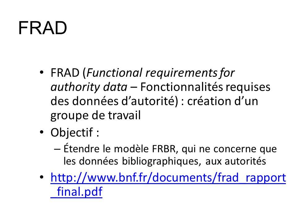 FRAD FRAD (Functional requirements for authority data – Fonctionnalités requises des données dautorité) : création dun groupe de travail Objectif : –