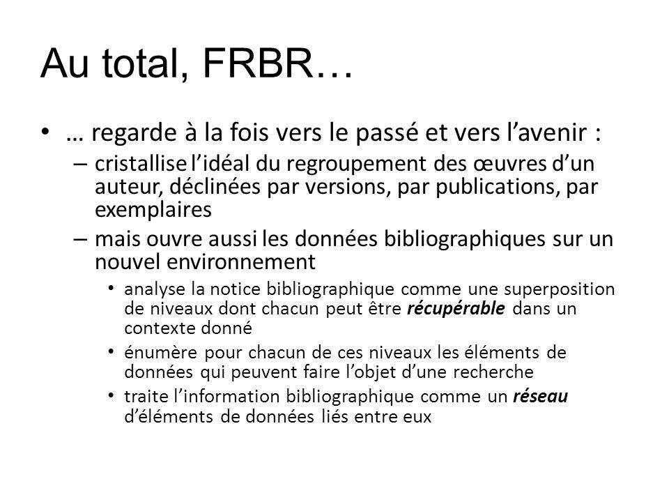 Au total, FRBR… … regarde à la fois vers le passé et vers lavenir : – cristallise lidéal du regroupement des œuvres dun auteur, déclinées par versions