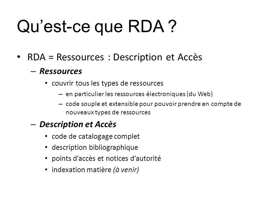 Quest-ce que RDA ? RDA = Ressources : Description et Accès – Ressources couvrir tous les types de ressources – en particulier les ressources électroni