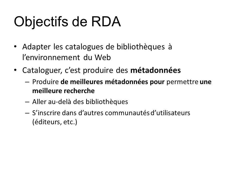 Objectifs de RDA Adapter les catalogues de bibliothèques à lenvironnement du Web Cataloguer, cest produire des métadonnées – Produire de meilleures mé