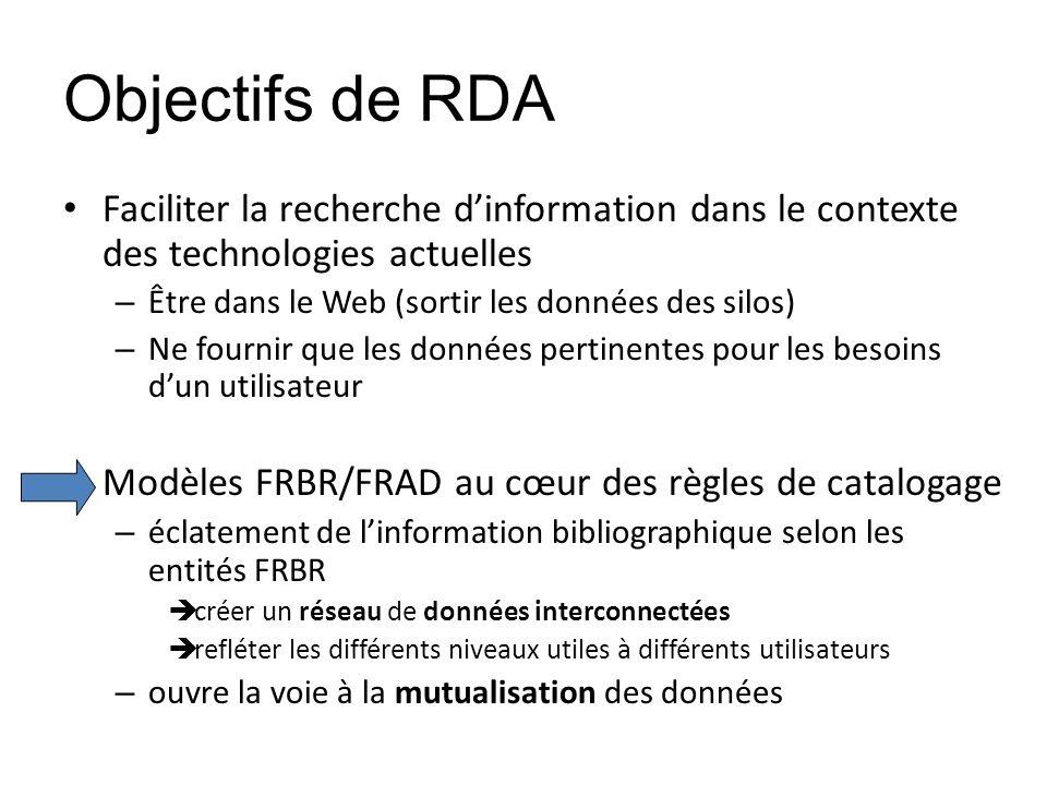 Objectifs de RDA Faciliter la recherche dinformation dans le contexte des technologies actuelles – Être dans le Web (sortir les données des silos) – N