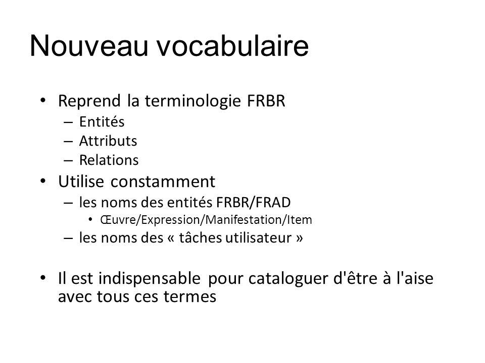 Nouveau vocabulaire Reprend la terminologie FRBR – Entités – Attributs – Relations Utilise constamment – les noms des entités FRBR/FRAD Œuvre/Expressi