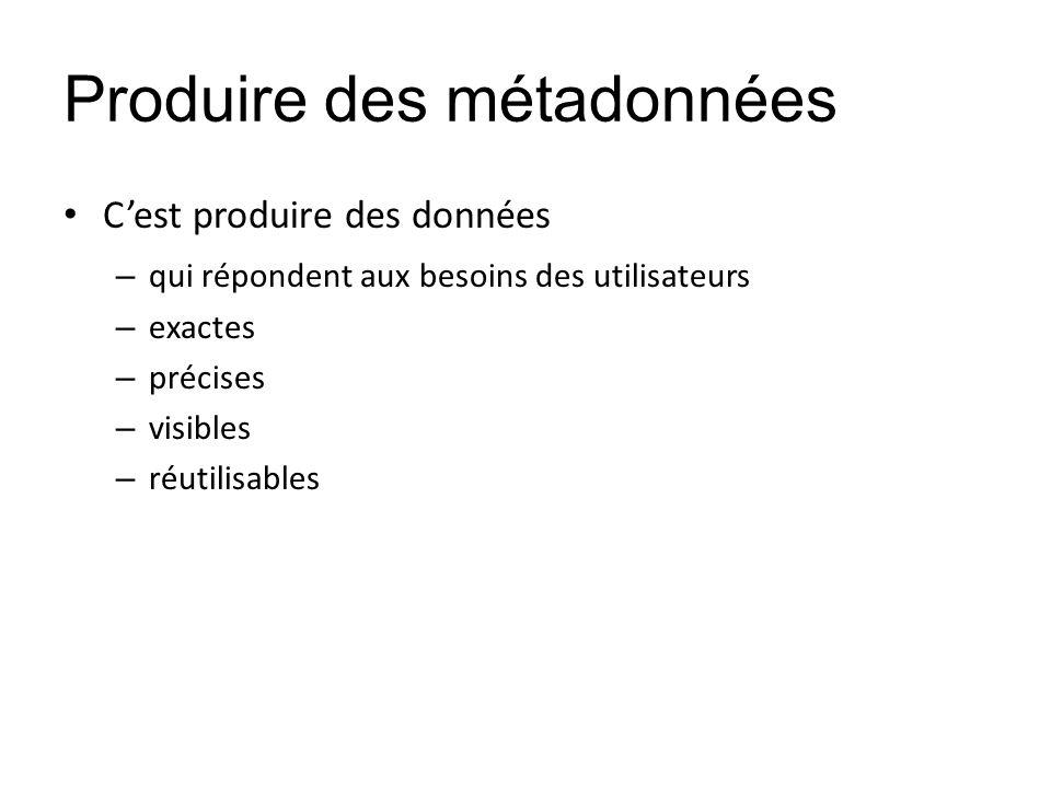 Produire des métadonnées Cest produire des données – qui répondent aux besoins des utilisateurs – exactes – précises – visibles – réutilisables