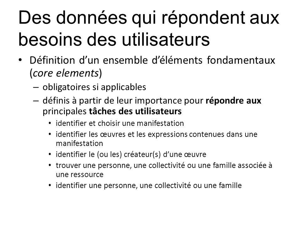 Des données qui répondent aux besoins des utilisateurs Définition dun ensemble déléments fondamentaux (core elements) – obligatoires si applicables –