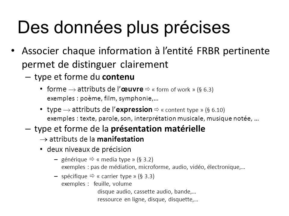 Des données plus précises Associer chaque information à lentité FRBR pertinente permet de distinguer clairement – type et forme du contenu forme attri