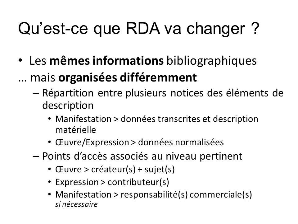 Quest-ce que RDA va changer ? Les mêmes informations bibliographiques … mais organisées différemment – Répartition entre plusieurs notices des élément
