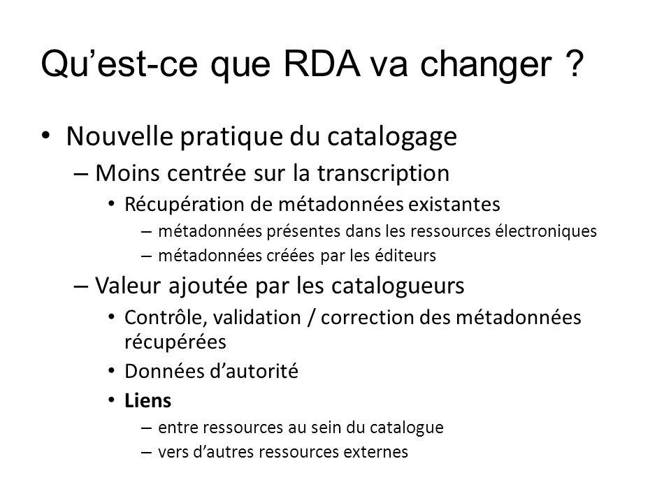 Quest-ce que RDA va changer ? Nouvelle pratique du catalogage – Moins centrée sur la transcription Récupération de métadonnées existantes – métadonnée