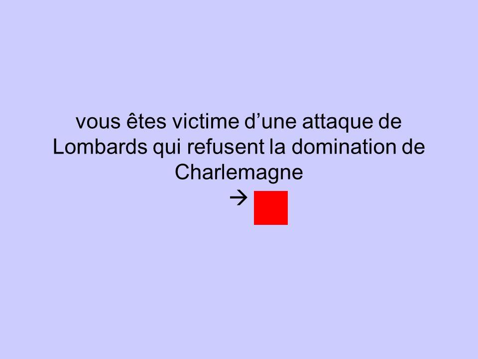 vous êtes victime dune attaque de Lombards qui refusent la domination de Charlemagne