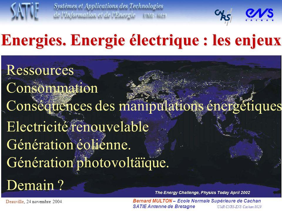 Ressources Consommation Conséquences des manipulations énergétiques Electricité renouvelable Génération éolienne. Génération photovoltäïque. Bernard M