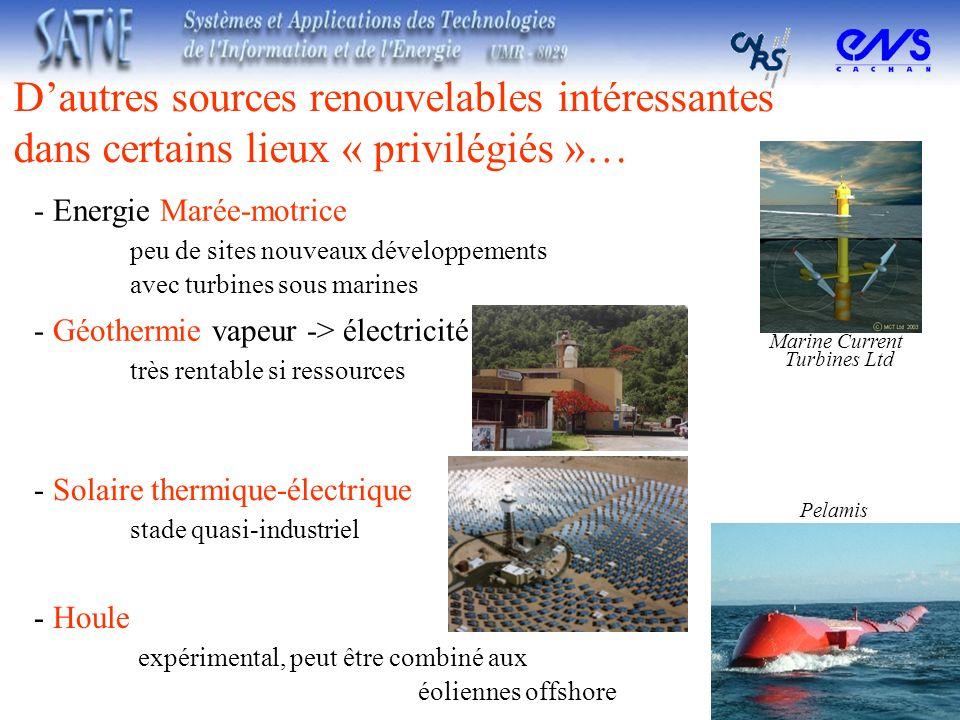 Dautres sources renouvelables intéressantes dans certains lieux « privilégiés »… - Solaire thermique-électrique stade quasi-industriel - Géothermie va