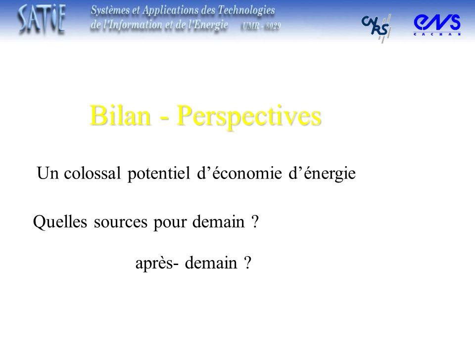 Bilan - Perspectives Quelles sources pour demain ? Un colossal potentiel déconomie dénergie après- demain ?