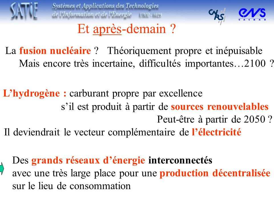 Lhydrogène : carburant propre par excellence La fusion nucléaire ? Et après-demain ? Théoriquement propre et inépuisable Mais encore très incertaine,