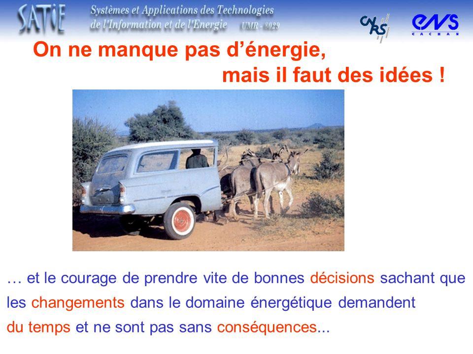 On ne manque pas dénergie, mais il faut des idées ! … et le courage de prendre vite de bonnes décisions sachant que les changements dans le domaine én