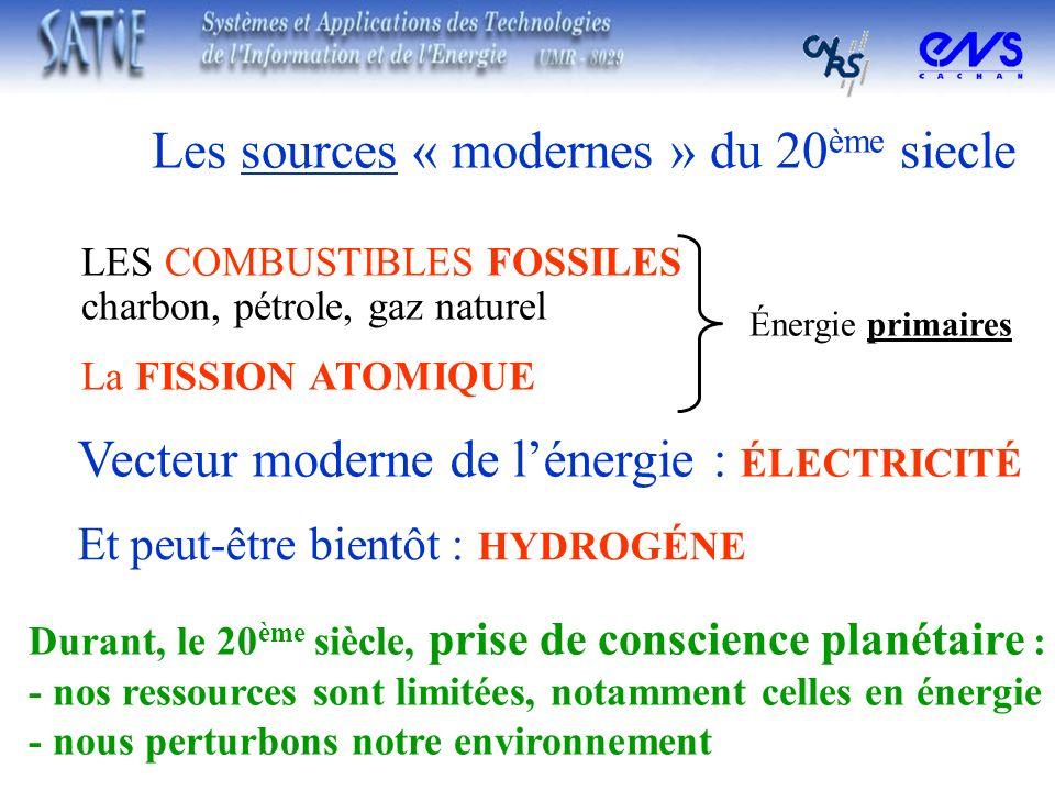 Durant, le 20 ème siècle, prise de conscience planétaire : - nos ressources sont limitées, notamment celles en énergie - nous perturbons notre environ