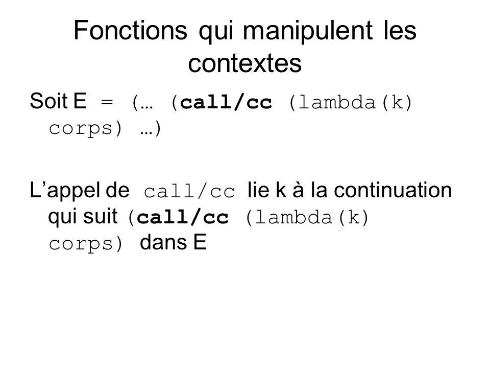 Fonctions qui manipulent les contextes Soit E = (… (call/cc (lambda(k) corps) …) Lappel de call/cc lie k à la continuation qui suit (call/cc (lambda(k) corps) dans E