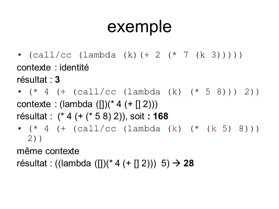 exemple (call/cc (lambda (k)(+ 2 (* 7 (k 3))))) contexte : identité résultat : 3 (* 4 (+ (call/cc (lambda (k) (* 5 8))) 2)) contexte : (lambda ([])(* 4 (+ [] 2))) résultat : (* 4 (+ (* 5 8) 2)), soit : 168 (* 4 (+ (call/cc (lambda (k) (* (k 5) 8))) 2)) même contexte résultat : ((lambda ([])(* 4 (+ [] 2))) 5) 28