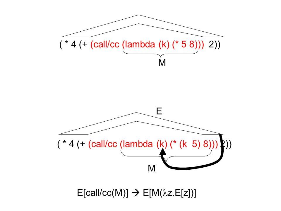 ( * 4 (+ (call/cc (lambda (k) (* 5 8))) 2)) ( * 4 (+ (call/cc (lambda (k) (* (k 5) 8))) 2)) E[call/cc(M)] E[M( z.E[z])] M M E