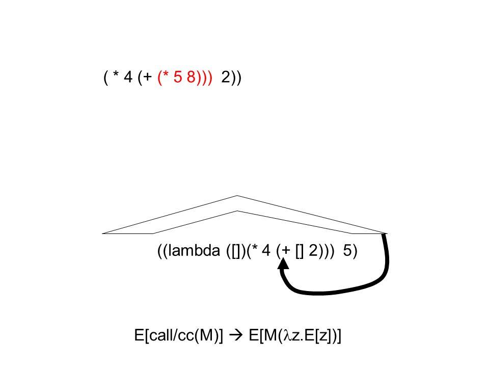 ((lambda ([])(* 4 (+ [] 2))) 5) ( * 4 (+ (* 5 8))) 2)) E[call/cc(M)] E[M( z.E[z])]