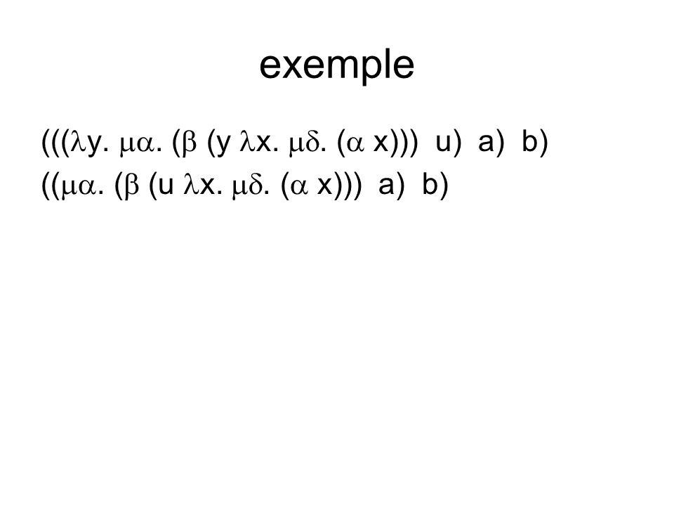 exemple ((( y.. ( (y x.. ( x))) u) a) b) ((. ( (u x.. ( x))) a) b)