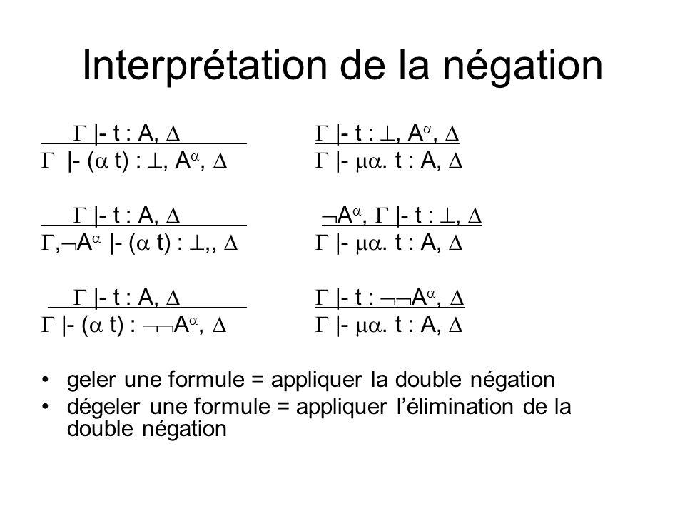 Interprétation de la négation |- t : A, |- t :, A, |- ( t) :, A, |-.