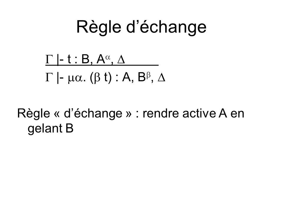 Règle déchange |- t : B, A, |-. ( t) : A, B, Règle « déchange » : rendre active A en gelant B