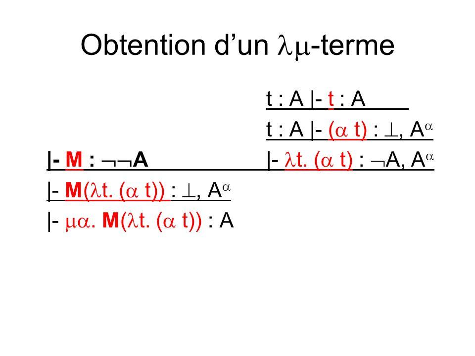Obtention dun -terme t : A |- t : A t : A |- ( t) :, A |- M : A|- t.