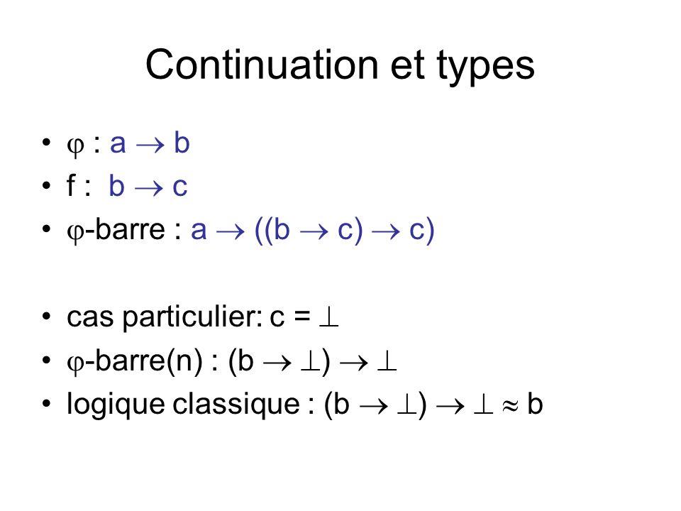 Continuation et types : a b f : b c -barre : a ((b c) c) cas particulier: c = -barre(n) : (b ) logique classique : (b ) b