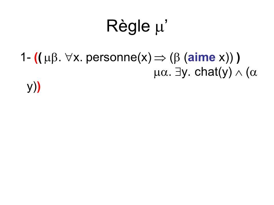 Règle 1- ((. x. personne(x) ( (aime x)) ). y. chat(y) ( y))