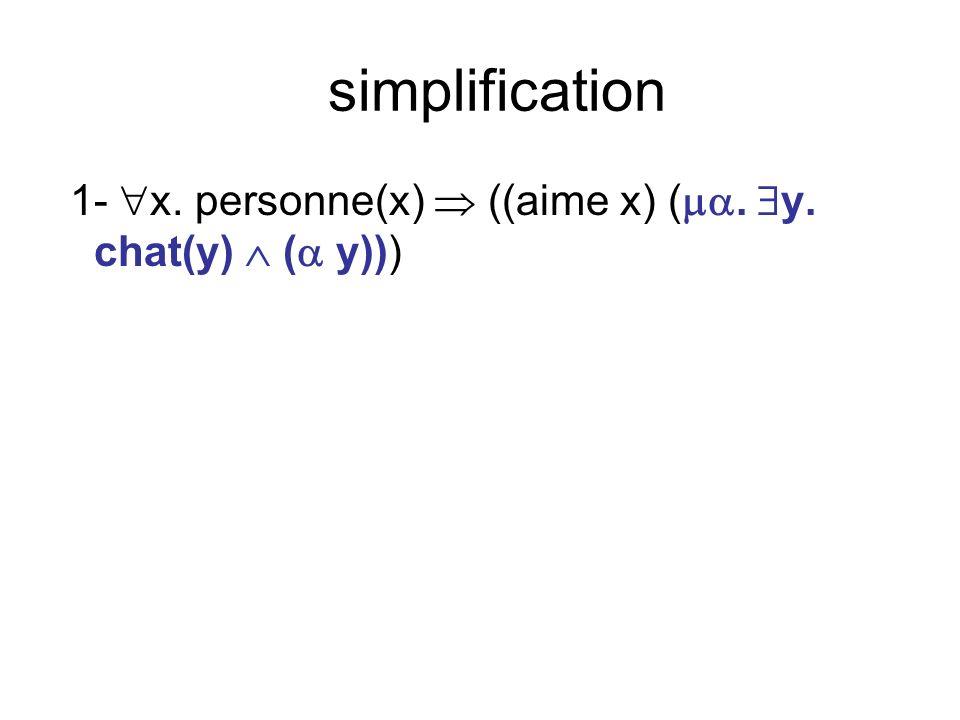 simplification 1- x. personne(x) ((aime x) (. y. chat(y) ( y)))