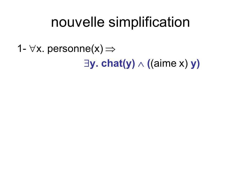 nouvelle simplification 1- x. personne(x) y. chat(y) ((aime x) y)