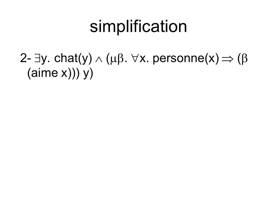 simplification 2- y. chat(y) (. x. personne(x) ( (aime x))) y)